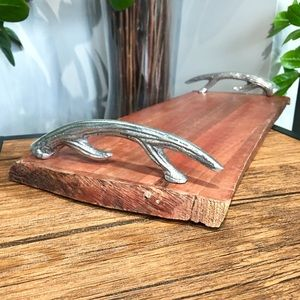 Antler Handle Wood Serving Cheese Boho Tray